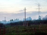 Туман - ниточка под ЛЭП у Андреевского