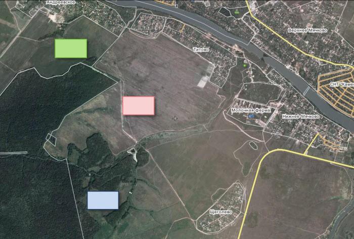 Кладбища возле Титово - зеленый прямоугольник - кладбище по генплану сп Молоковское, красный - по проекту генплана сп Чулковское, синий - один из альтернативных вариантов