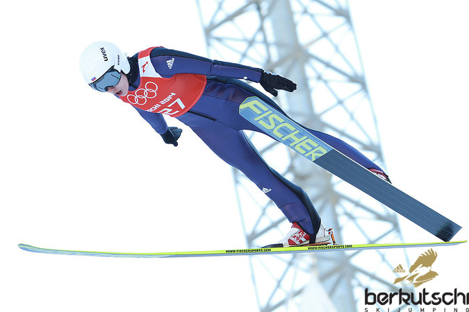 Ирина Аввакумова (Тактаева) 8 февраля тренируется на сочинском трамплине