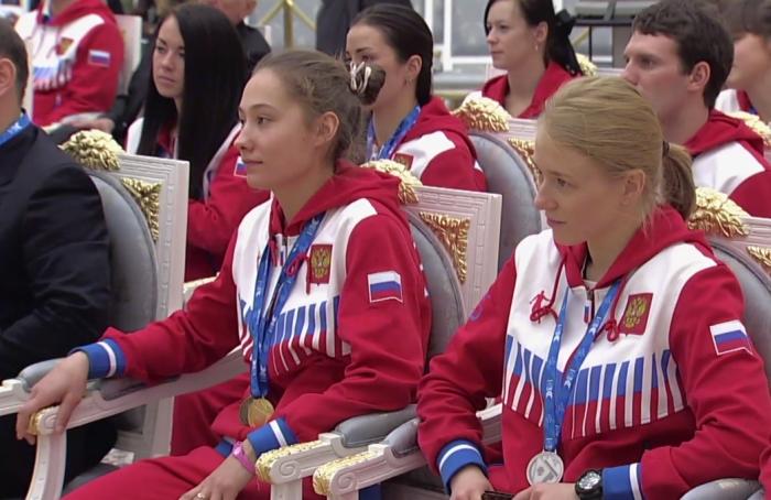Ирина Аввакумова (Тактаева) на приеме участников и победителей Универсиады в Московском Кремле