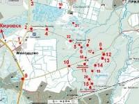 Карта мест напряженных боев и захоронений в долине речки Черная и у Синявинских высот у Ладожского озера (цифрой 5 обозначен укрепленный пункт