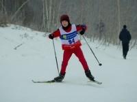 Лыжник на подъеме