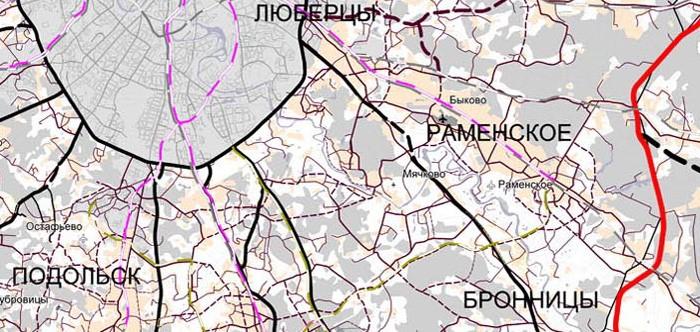 Фрагмент схемы планируемого развития транспортной инфраструктуры  Московской области вокруг Титово.