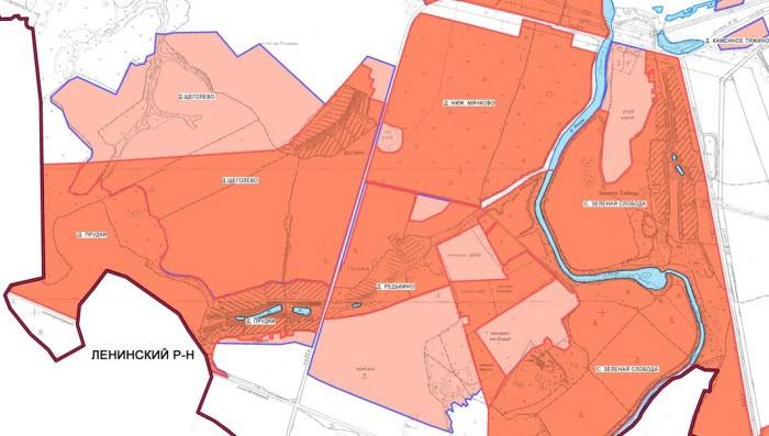 Изменение границ населенных пунктов - часть карты