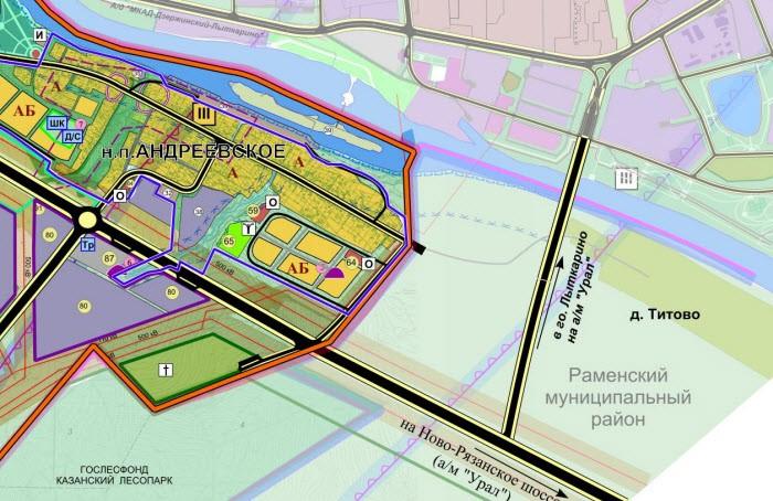 Бутово - Новорязанское шоссе фрагмент Андреевское и Титово