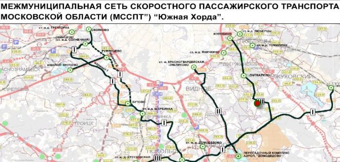 """...создания сети линий скоростного трамвая на юге, юго-востоке и юго-западе Московской области (проект  """"Южная хорда """")."""