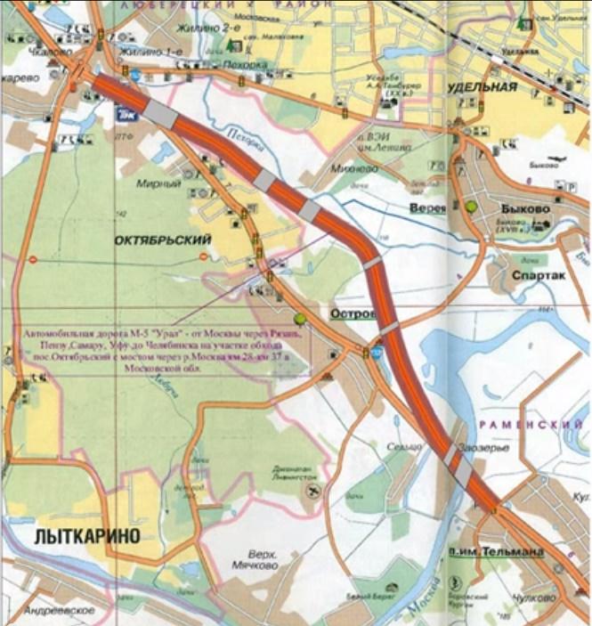 Схема обхода Октябрьского и Островцов