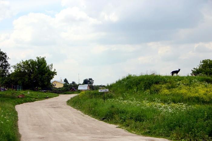 Въезд в Титово из Нижнего Мячково
