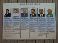 Плакат с кандидатами в депутаты