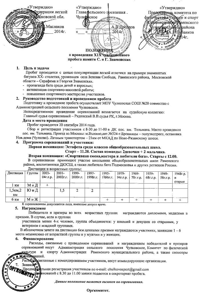 Положение пробега Знаменских 2014