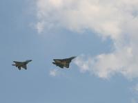 Совместное выступление новейших самолетов Т-50 и МИГ-29М2