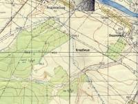 Расположение планируемого кладбища на карте 1968 года в уровнями высот - кладбище на уровне 125-130 метров, деревня на уровне 115-120 метров